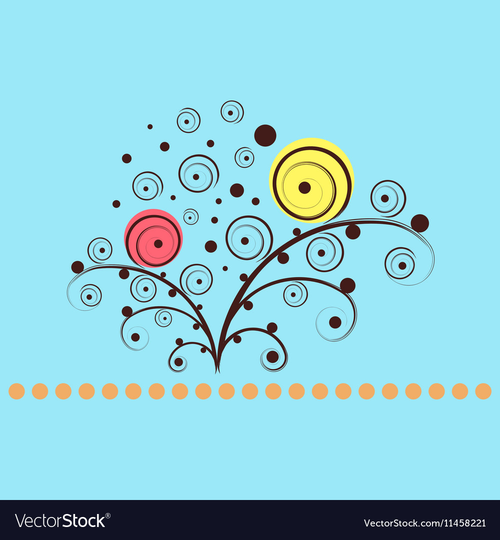 Shining flowers circle background vector image