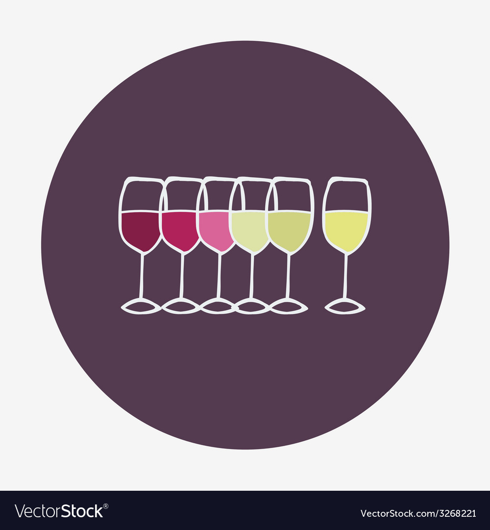 Wine glasses icon Red white and rose wine vector image