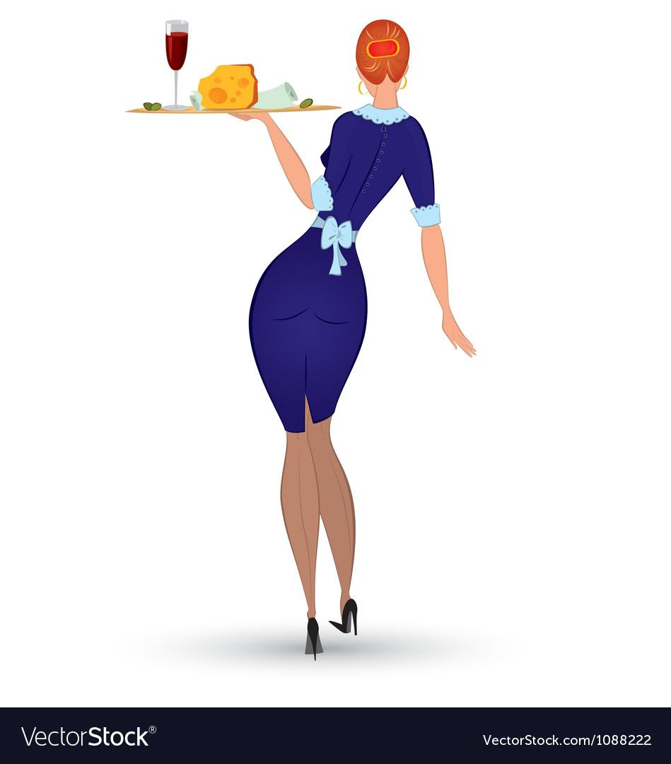 Waitress in blue uniform vector image