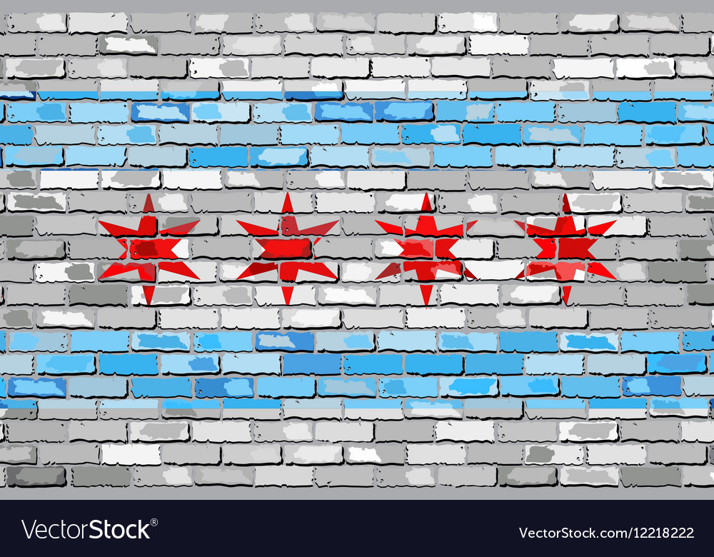 Flag of Chicago on a brick wall vector image
