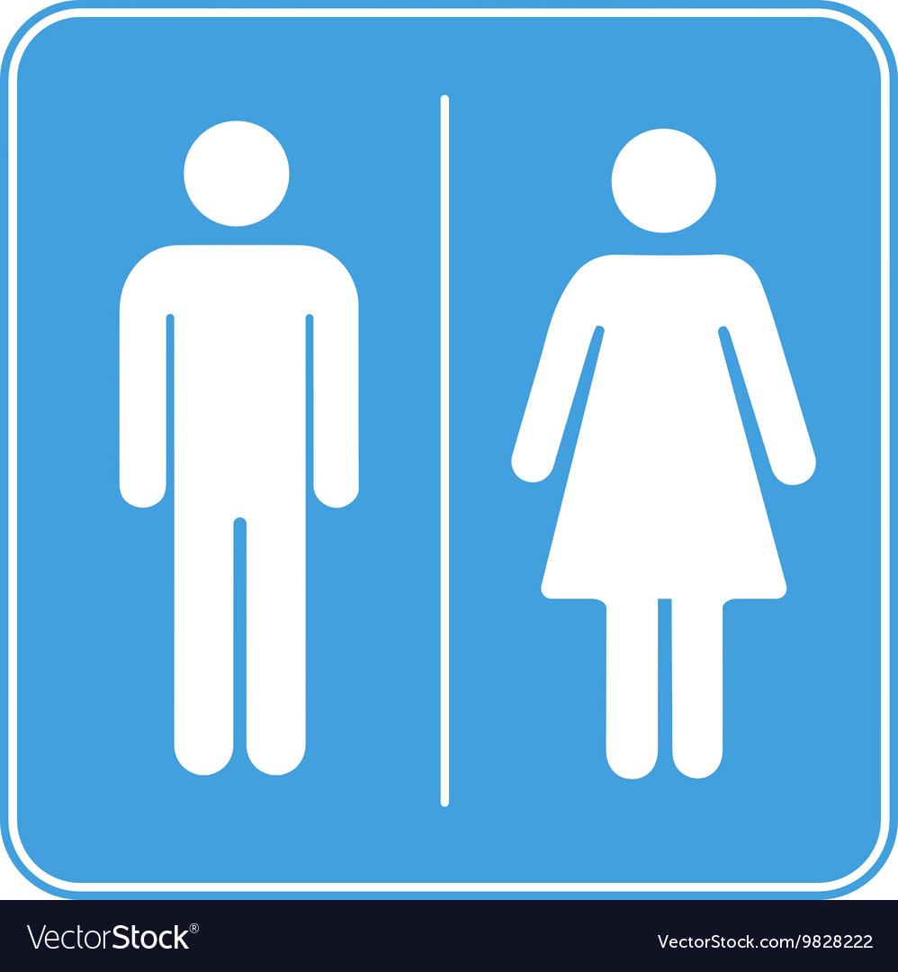 Men and women toilet WC sign on white vector image