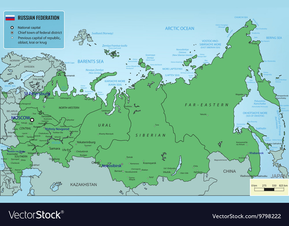 Russian Federation map with selectable territories
