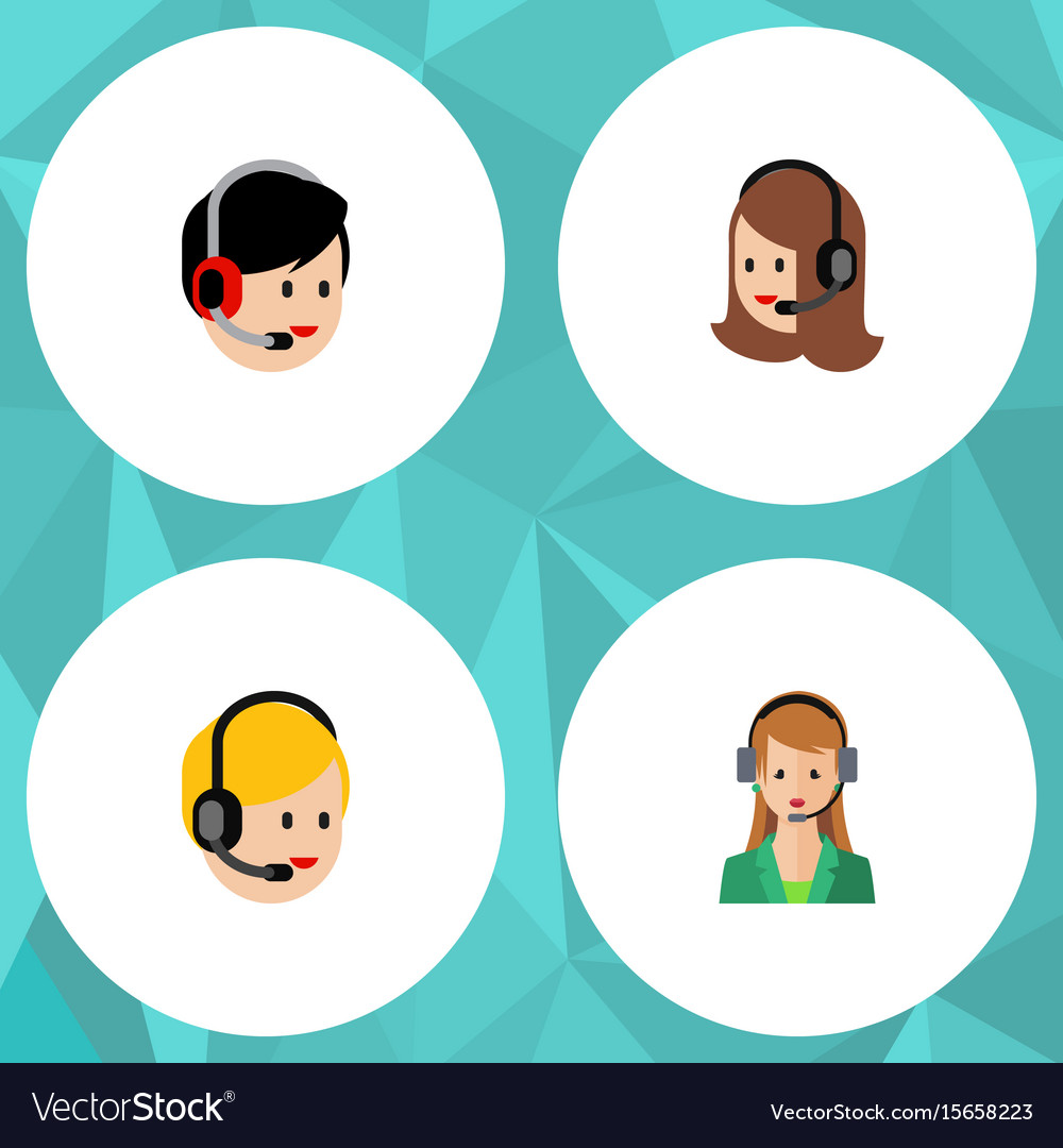 Flat icon telemarketing set of service call vector image