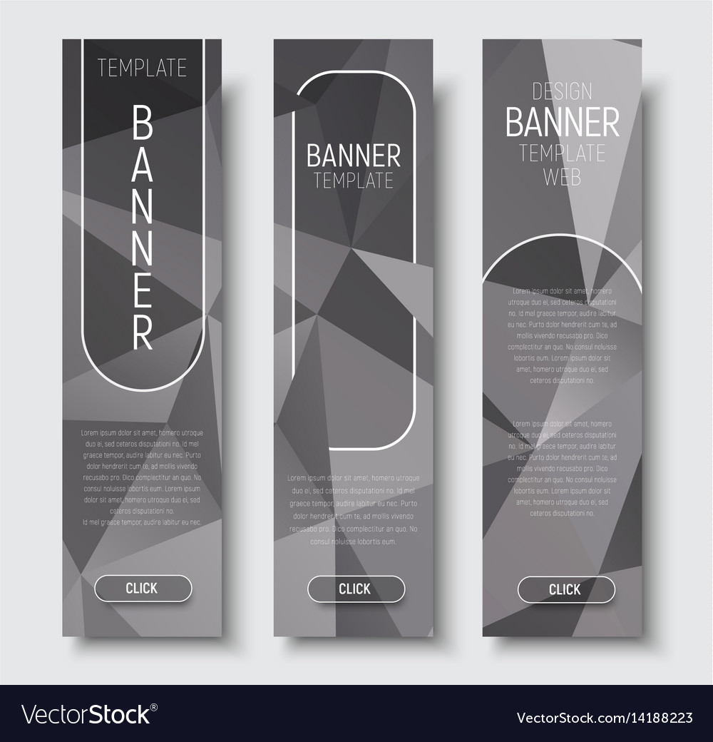 Template vertical web banners with abstract gray vector image