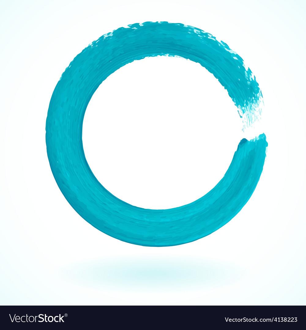 Turquoise paintbrush circle frame vector image