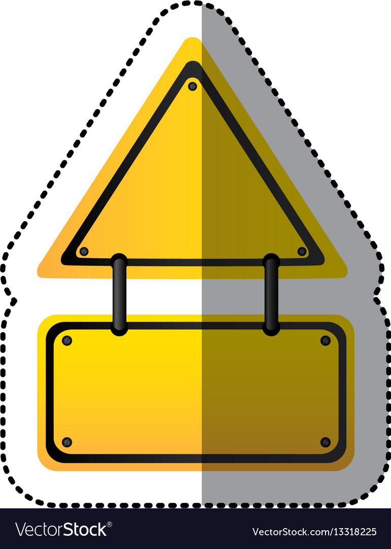 Sticker yellow triangle shape warning traffic sign vector image