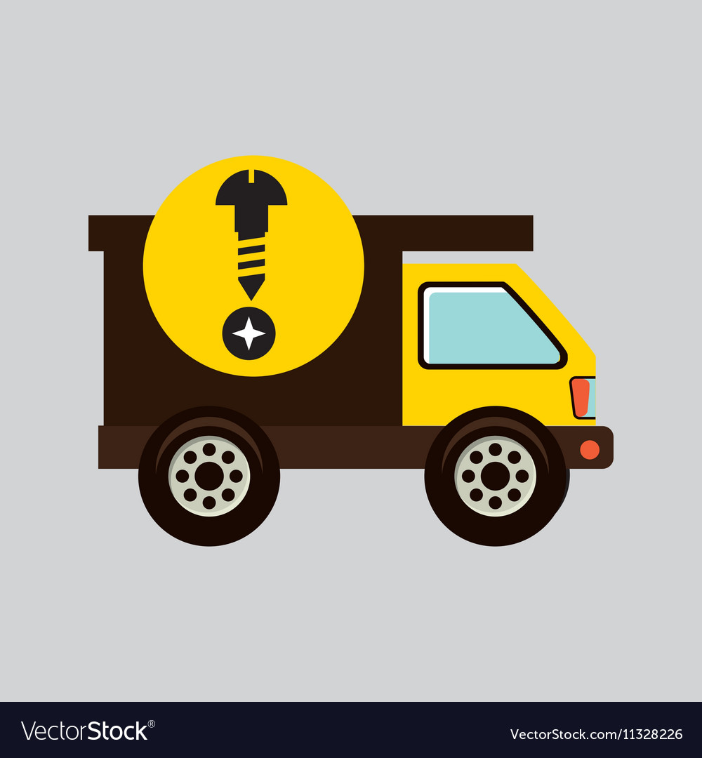 Construction gear icon screw head vector image