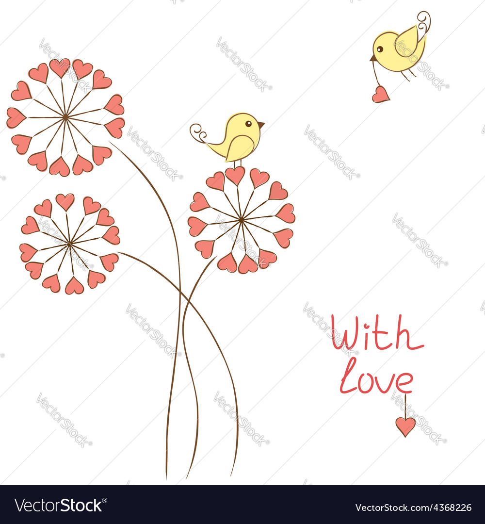 Romantic birds vector image