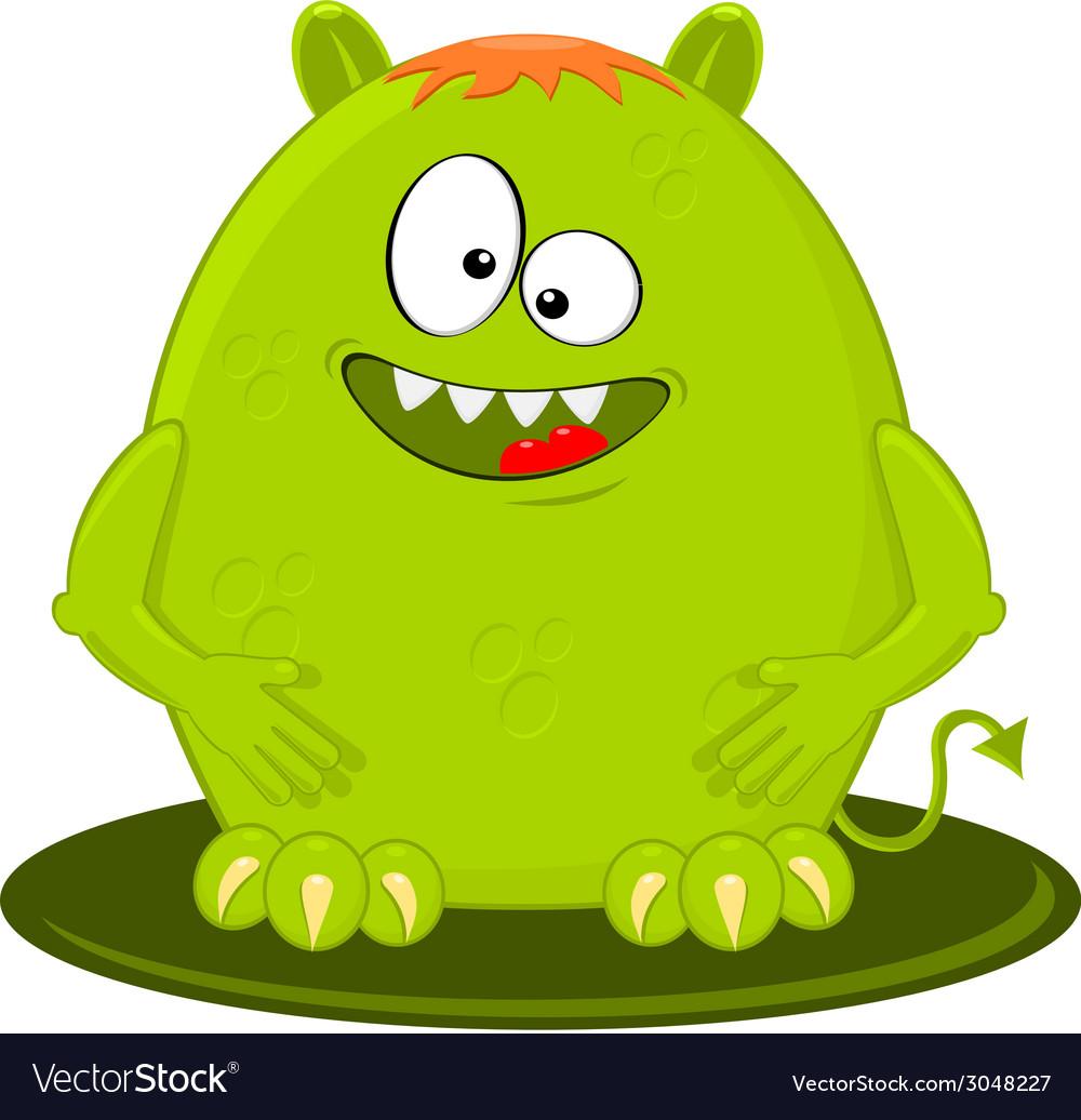 Cartoon Of Funny Green Monster Alien vector image