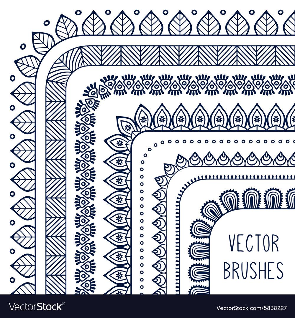 Ethnic hand drawn line border set and vector image