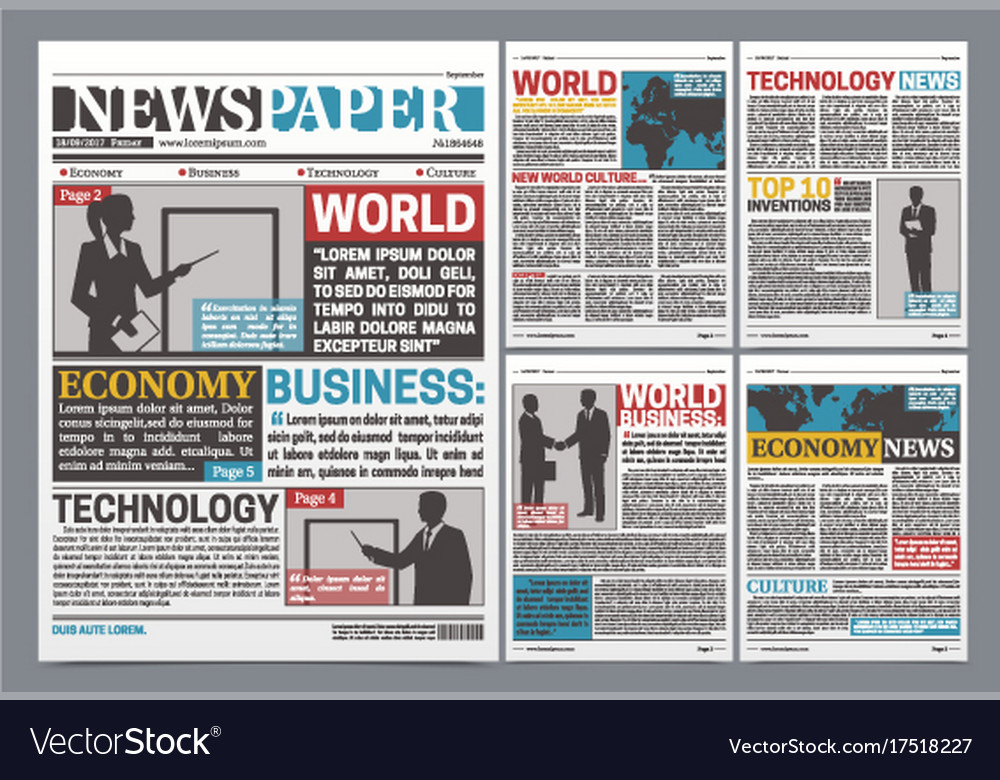 newspaper online template realistic poster vector image, Powerpoint templates