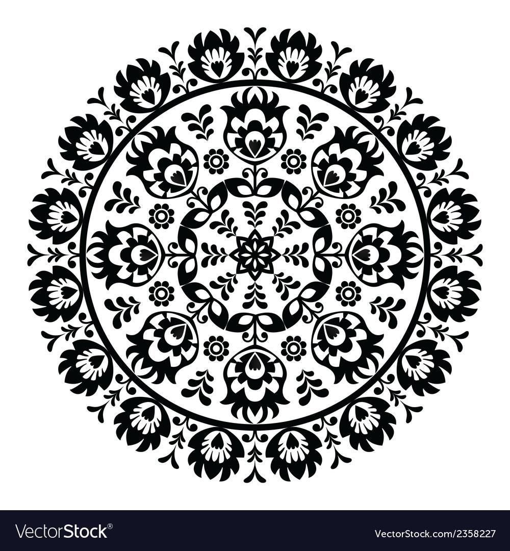 Polish folk art pattern in circle - wzory lowickie vector image
