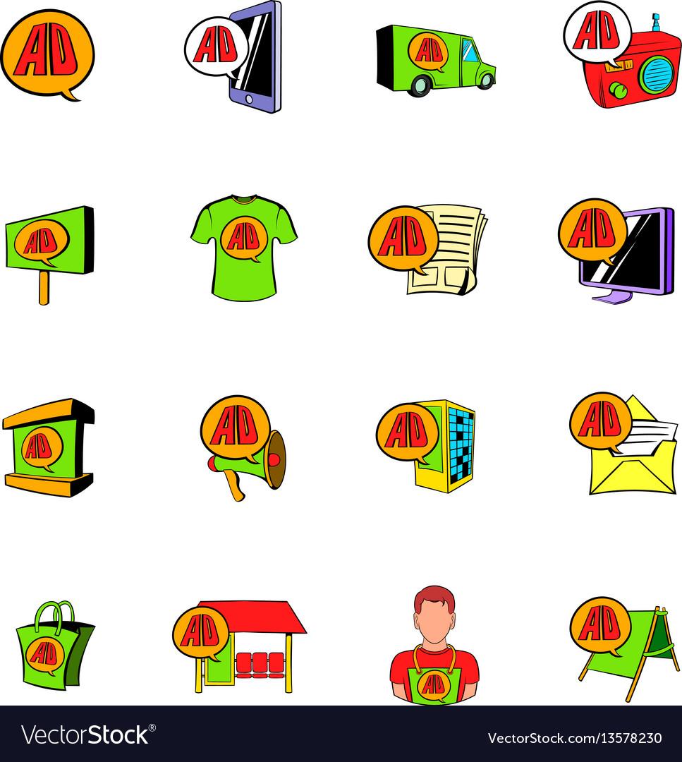 Advertisement set icons set cartoon vector image