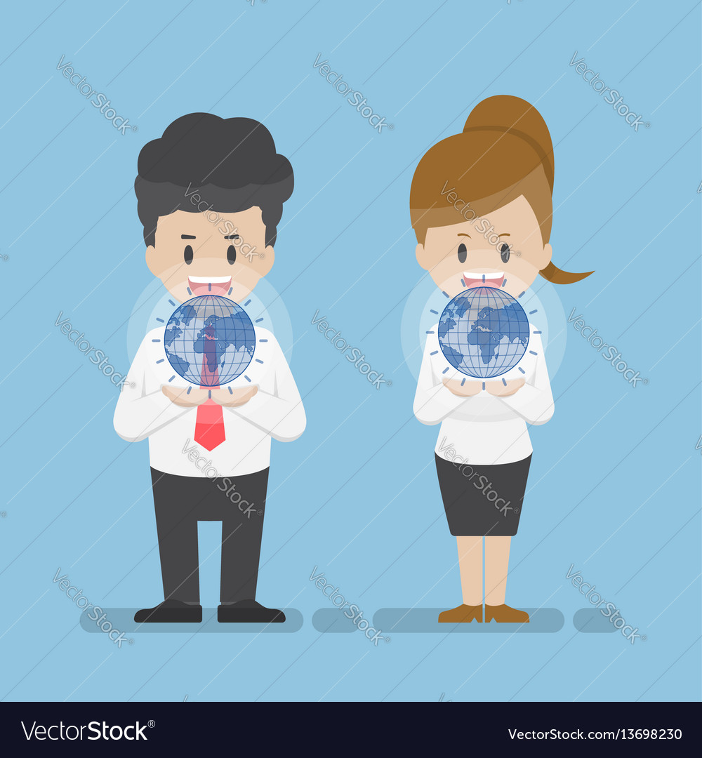 Businessman and businesswoman holding virtual vector image