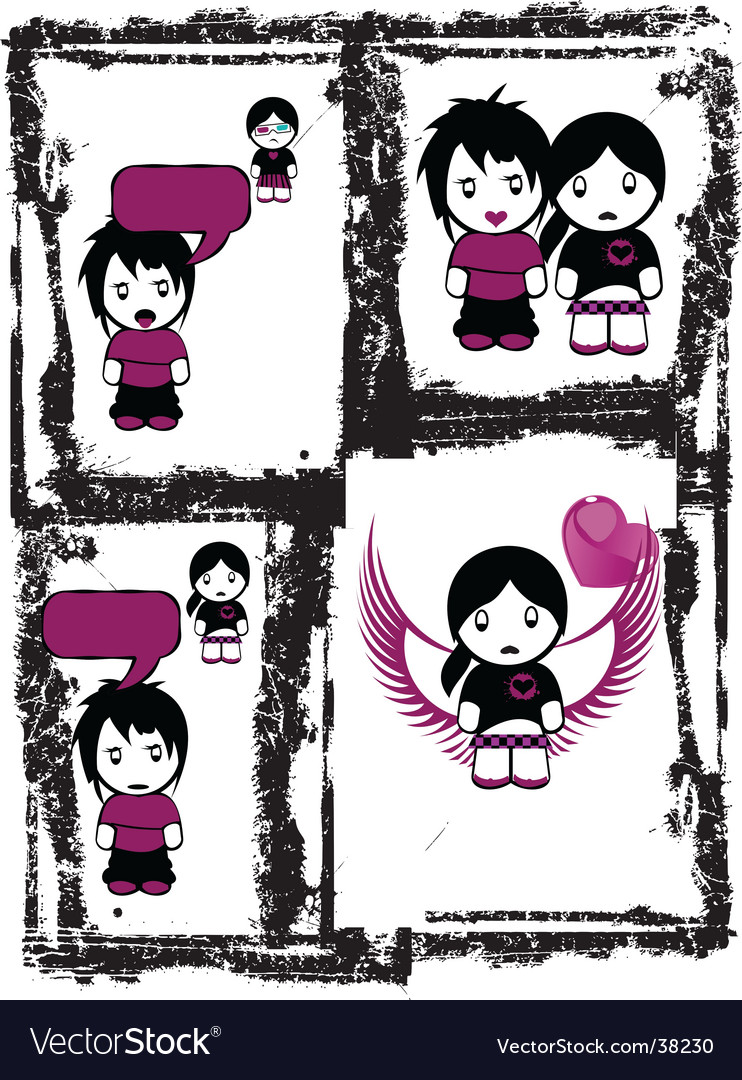 Emo love comics vector image