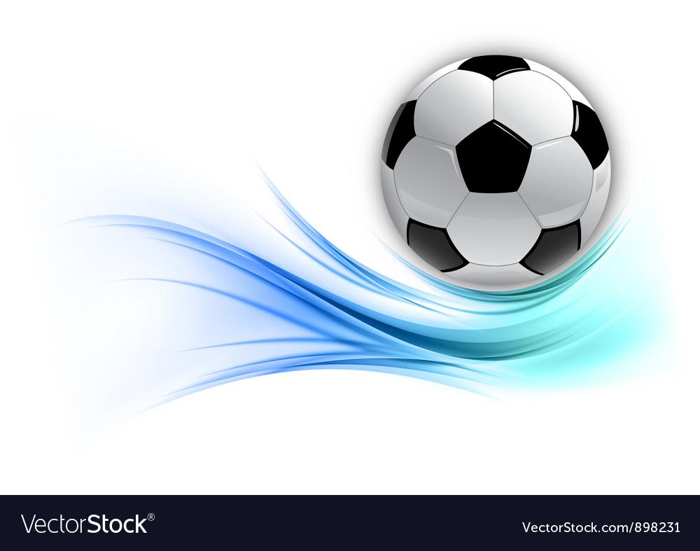 Football on abstract shape smoke blue vector image