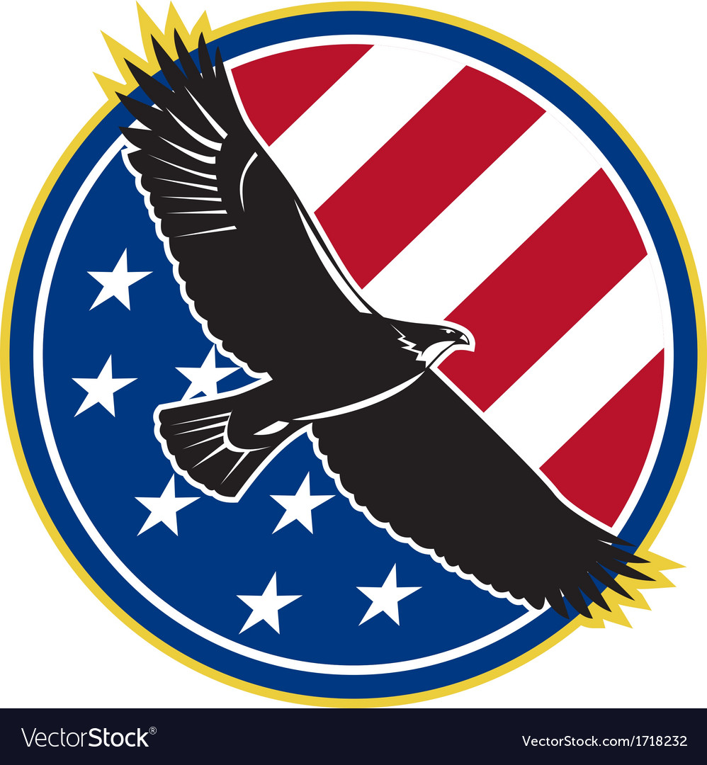 American Eagle Flying USA Flag Retro vector image