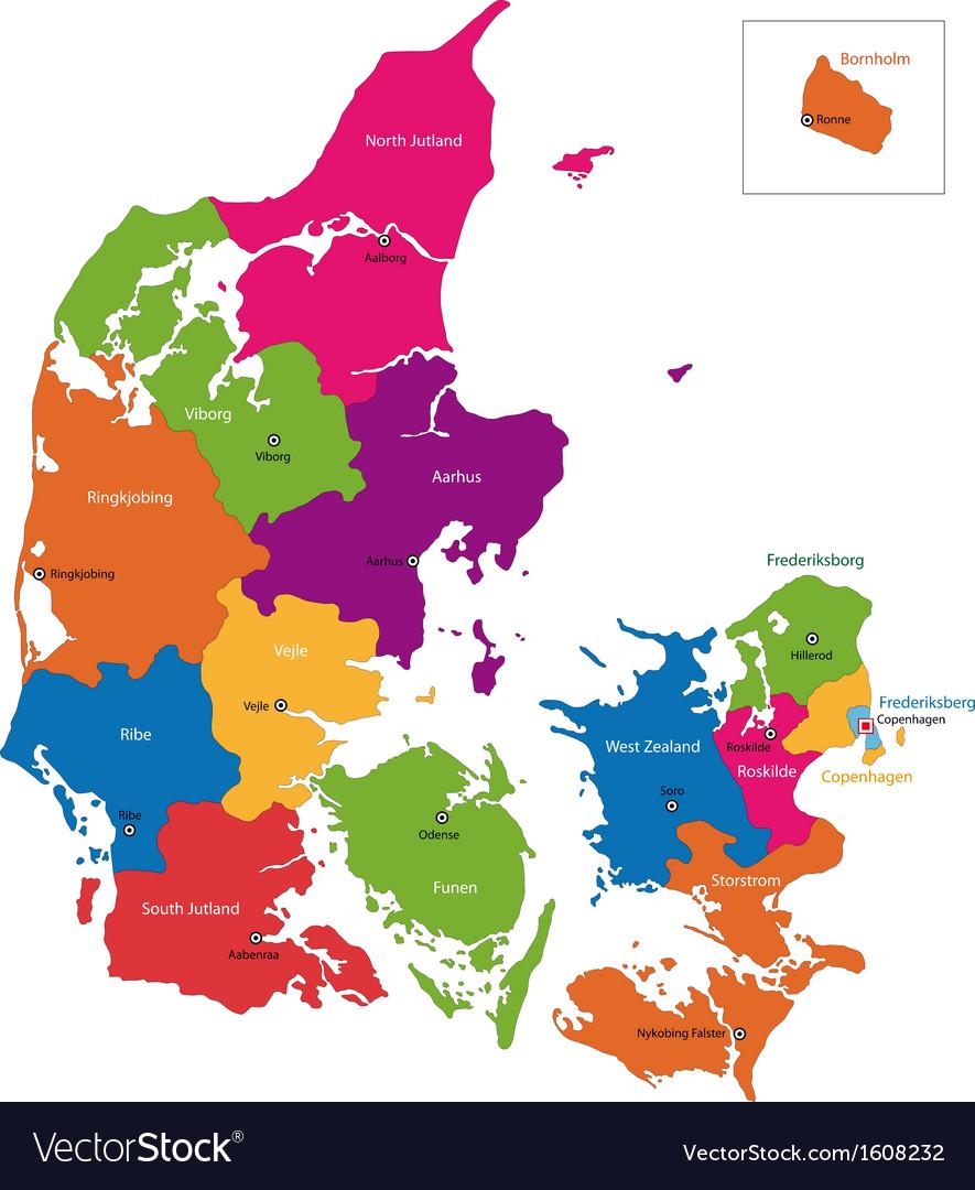 Denmark map Royalty Free Vector Image VectorStock