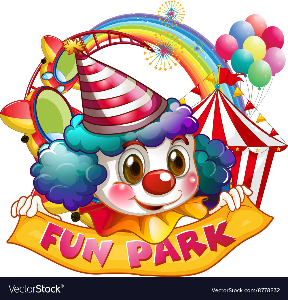 Jester and fun park sign vector image