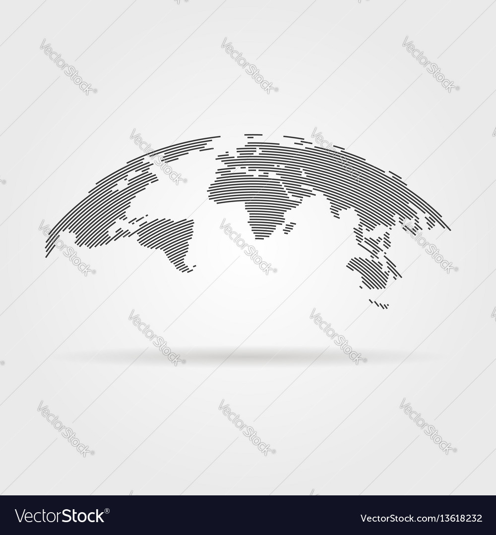 Simple black world map from thin line vector image