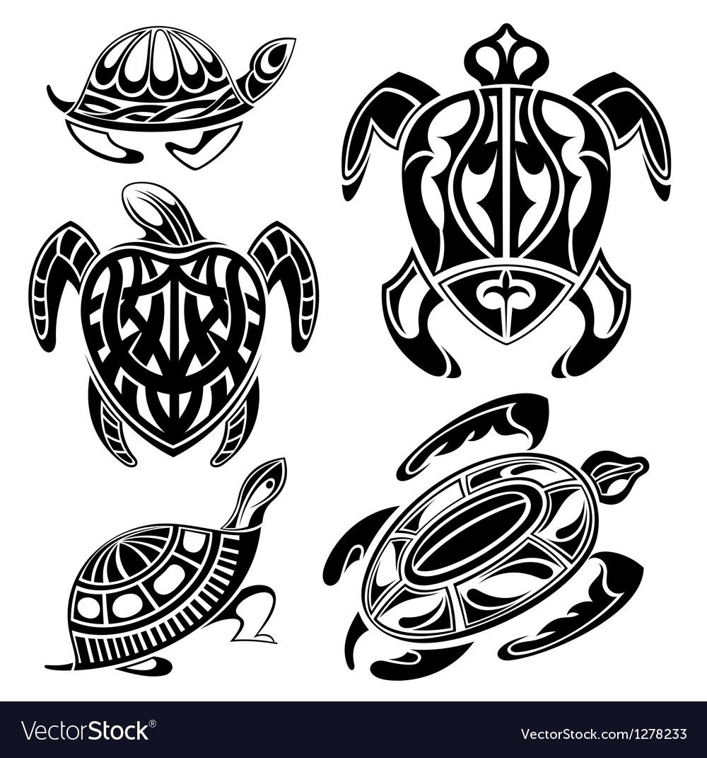 Decorative turtles vector image