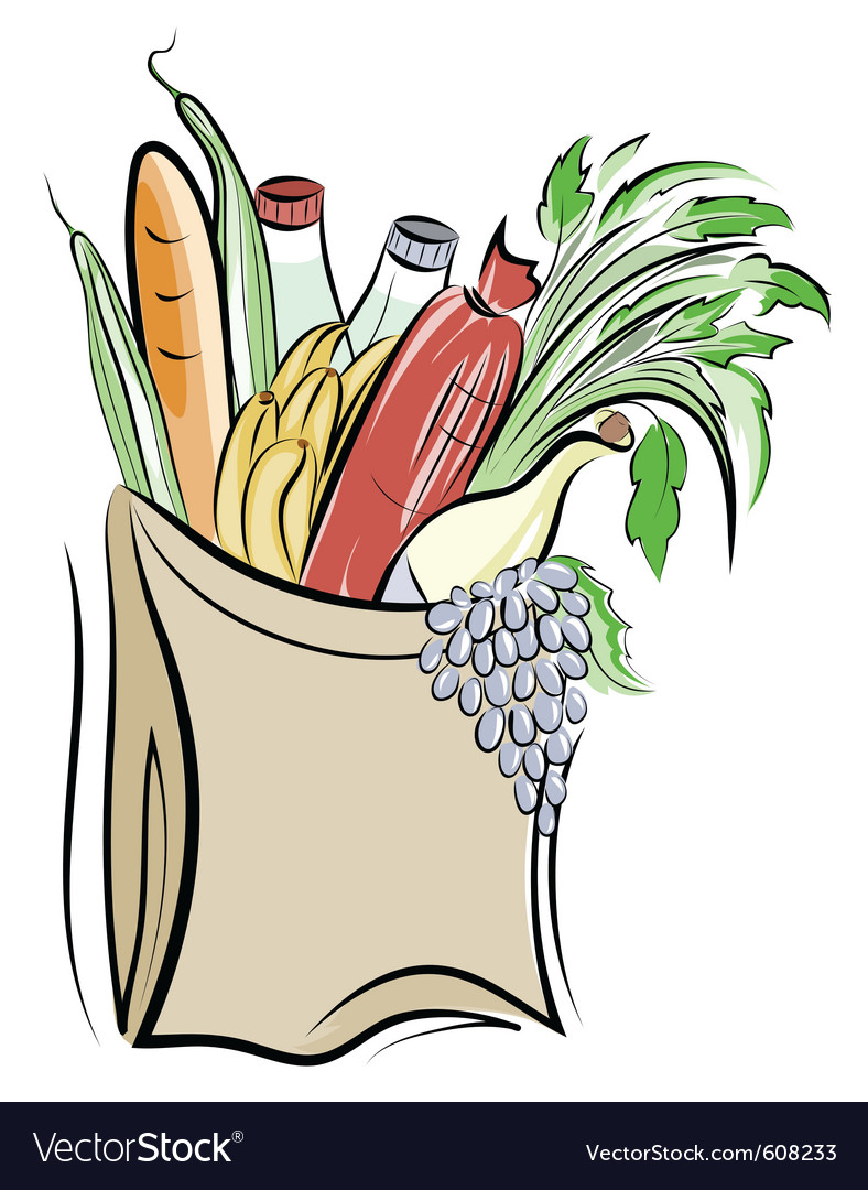 Paper bag with foods vector image