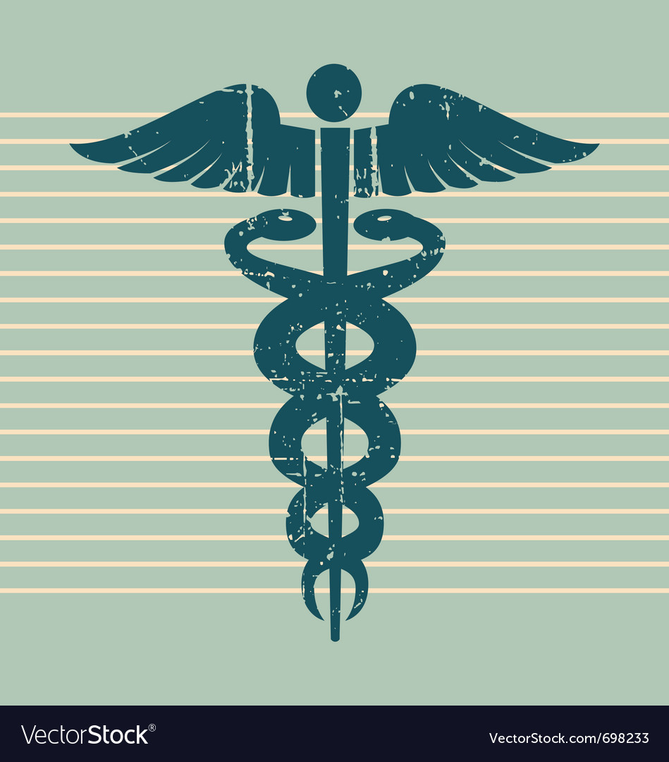 Vintage medical caduceus vector image