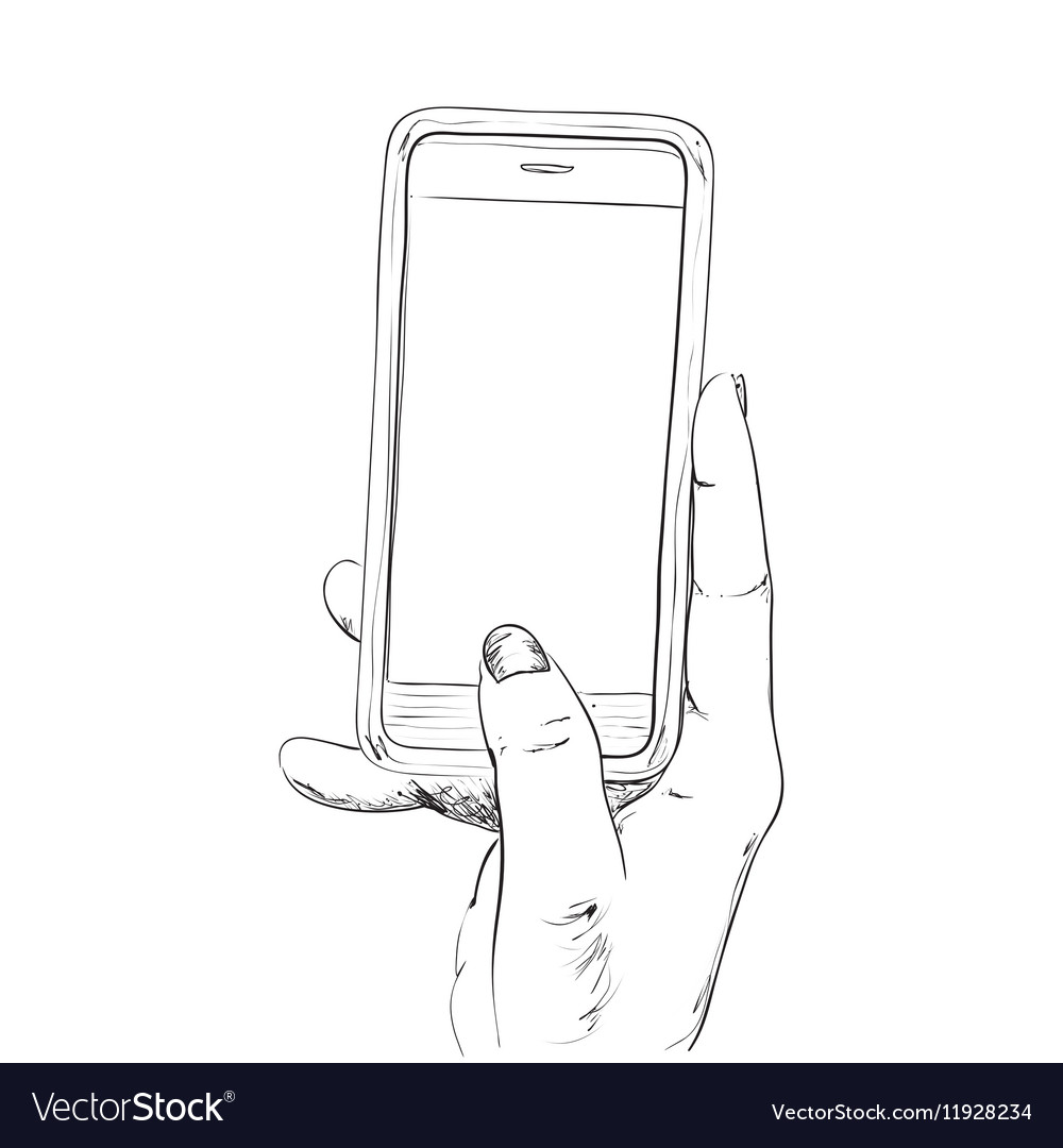 Hand drawn sketch of mobile phone vector image