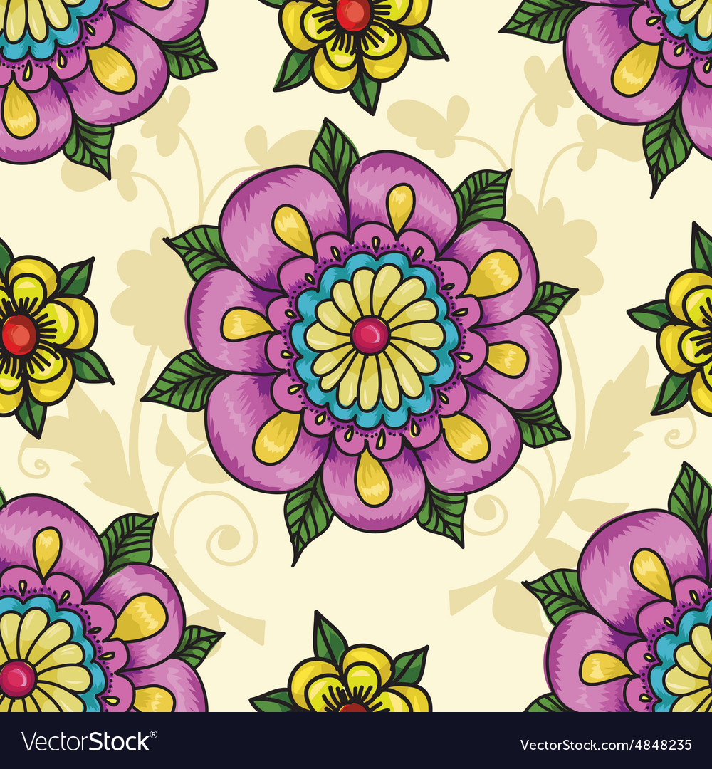 Pattern with flowers on a yellow background