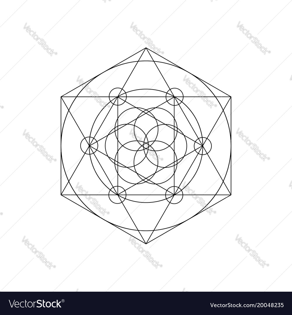 Sacred geometry symbols with triangle hexagon vector image