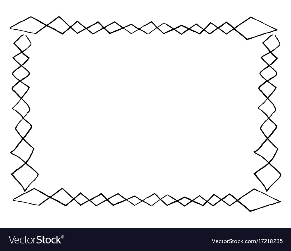 Simple frame with square doodles rectangular shape vector image