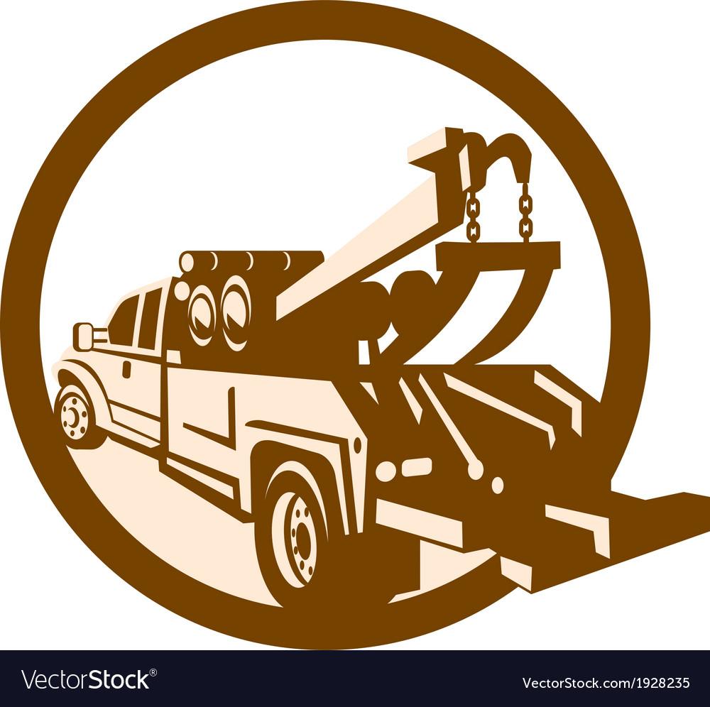 Tow Truck Wrecker Rear Retro vector image