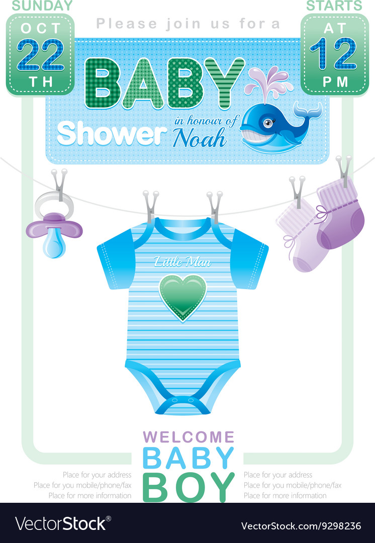 Baby shower boy invitation design with body suit vector image