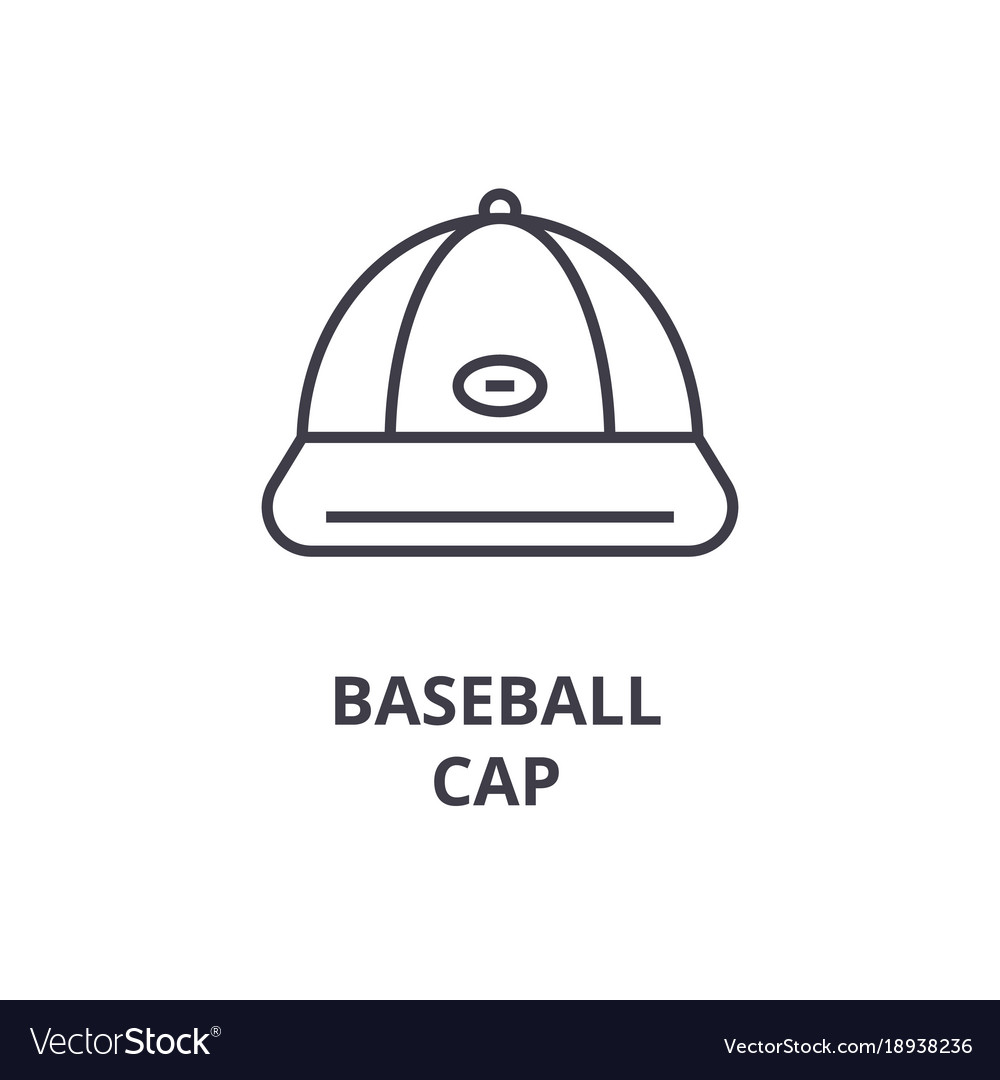 Baseball cap line icon outline sign linear vector image