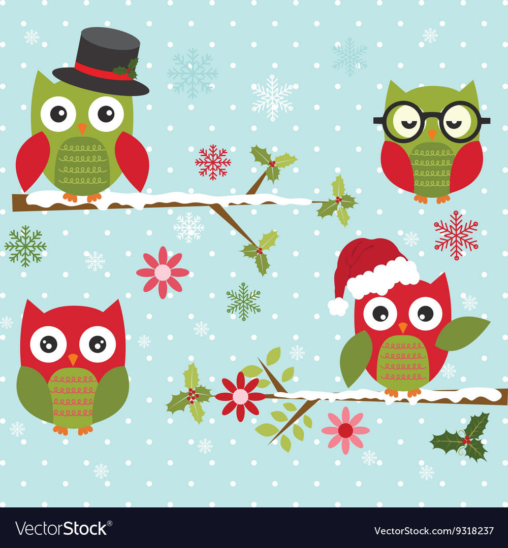 Christmas Cute Owl with Branch vector image
