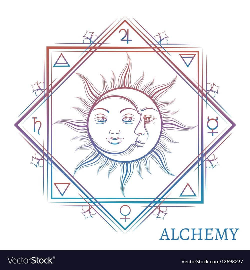 Hand drawn alchemy symbol vector image