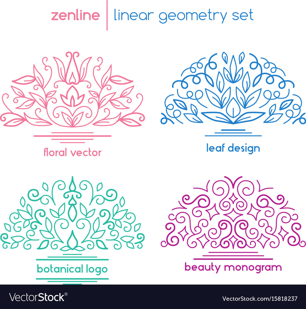 Linear abstract emblems vector image