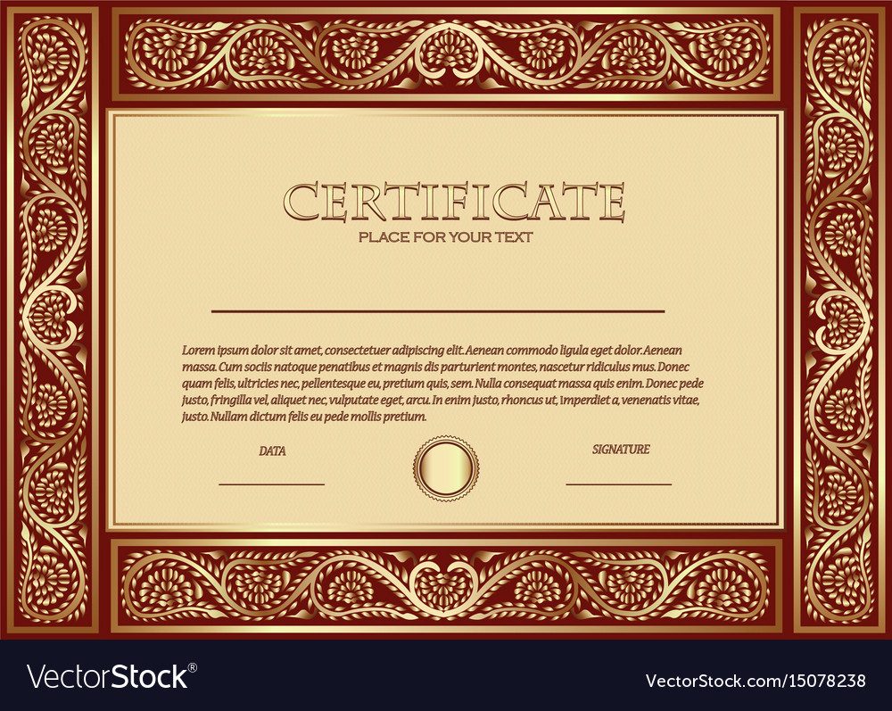 A custom certificate template with gold ornaments vector image a custom certificate template with gold ornaments vector image 1betcityfo Gallery
