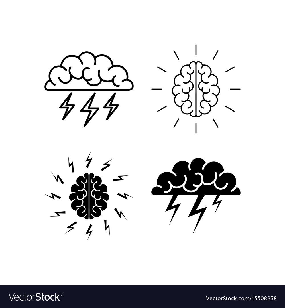 Brain brainstorming icon vector image