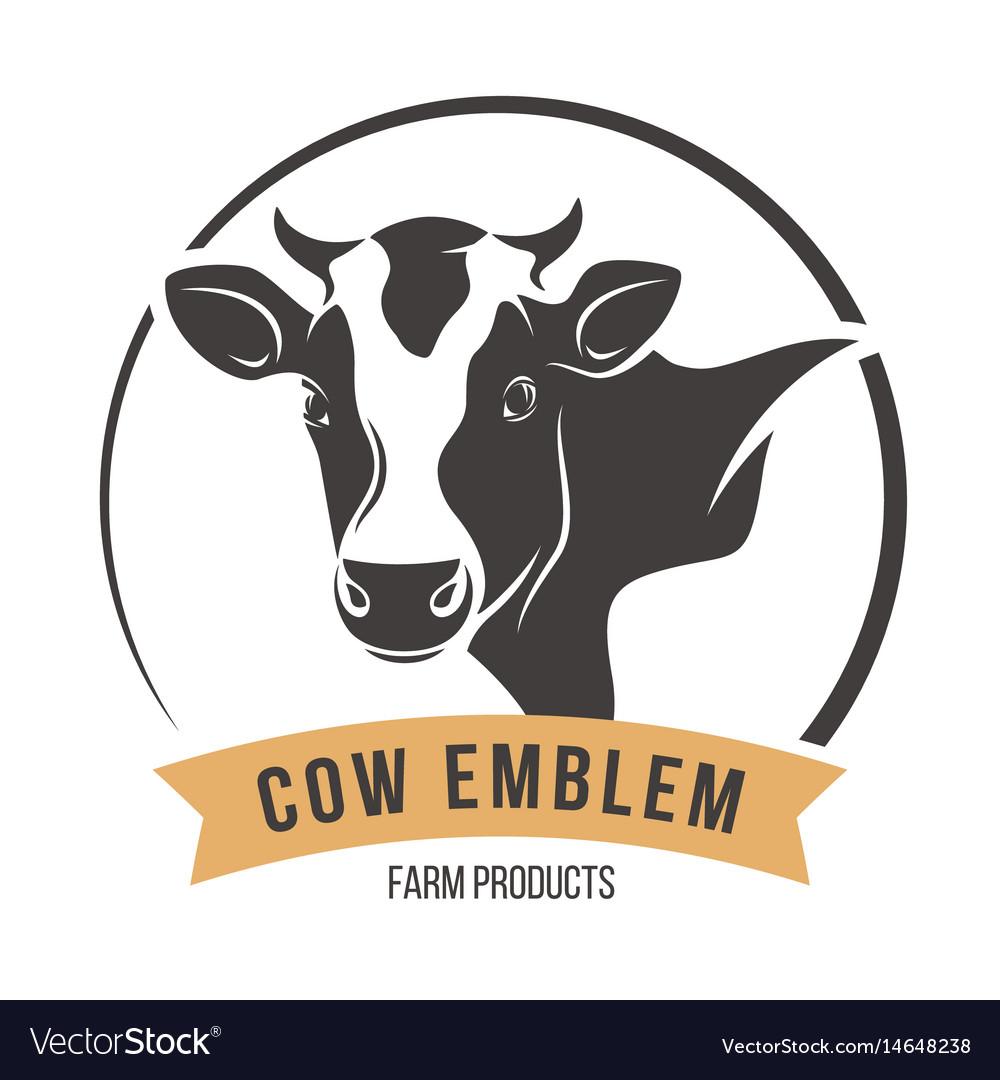 Cow head silhouette emblem label vector image
