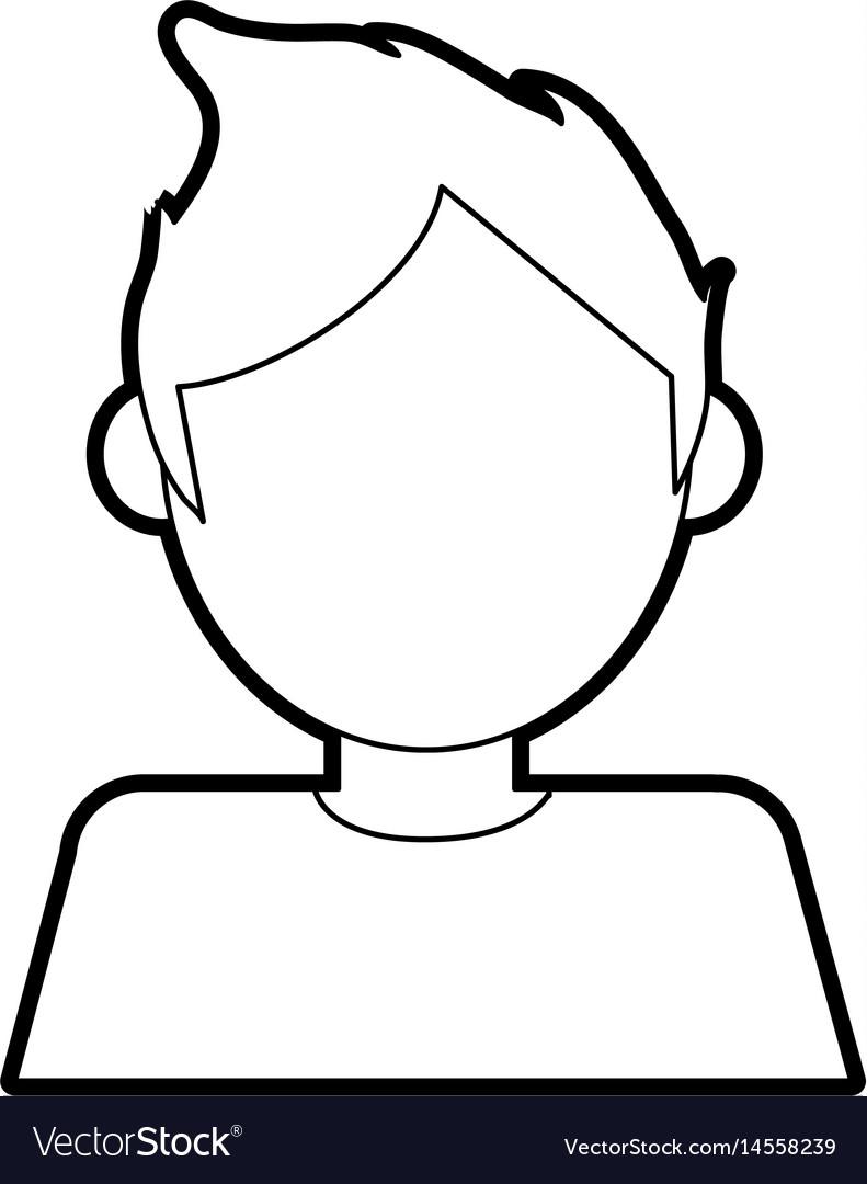 Black silhouette cartoon faceless half body man vector image