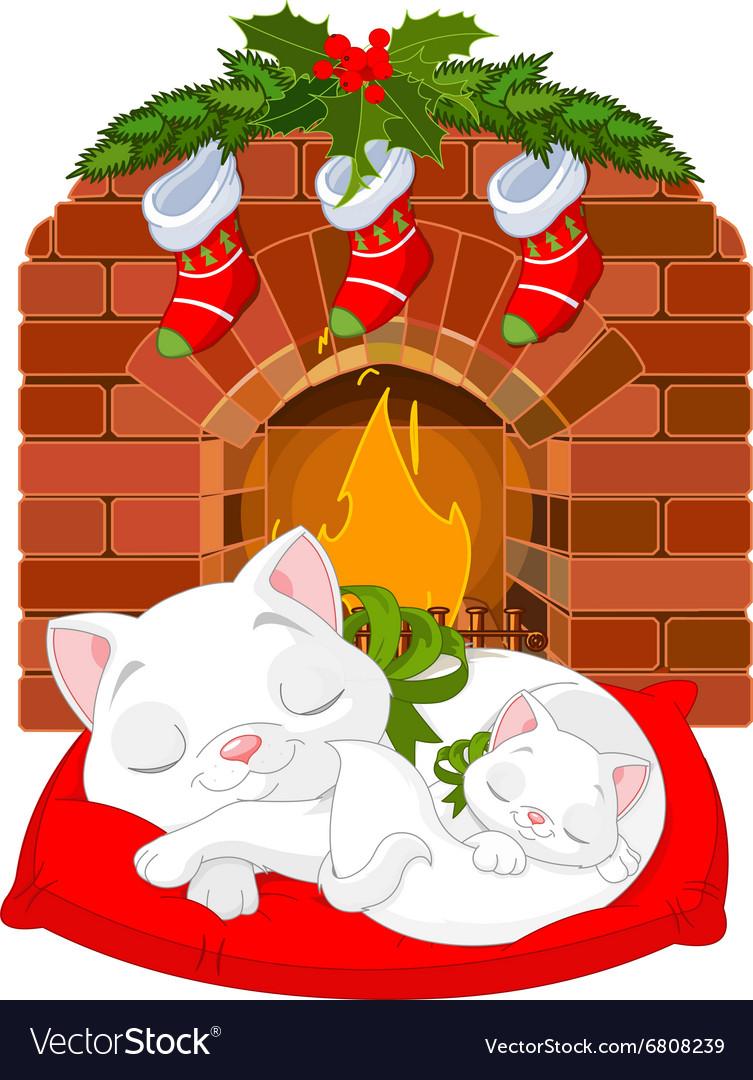 Kitten near Fireplace vector image