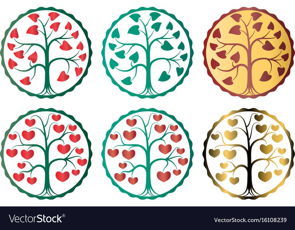 Logo symbol tree with hearts vector image