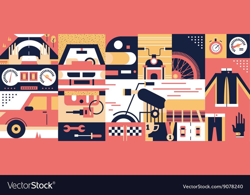 Auto and moto background vector image