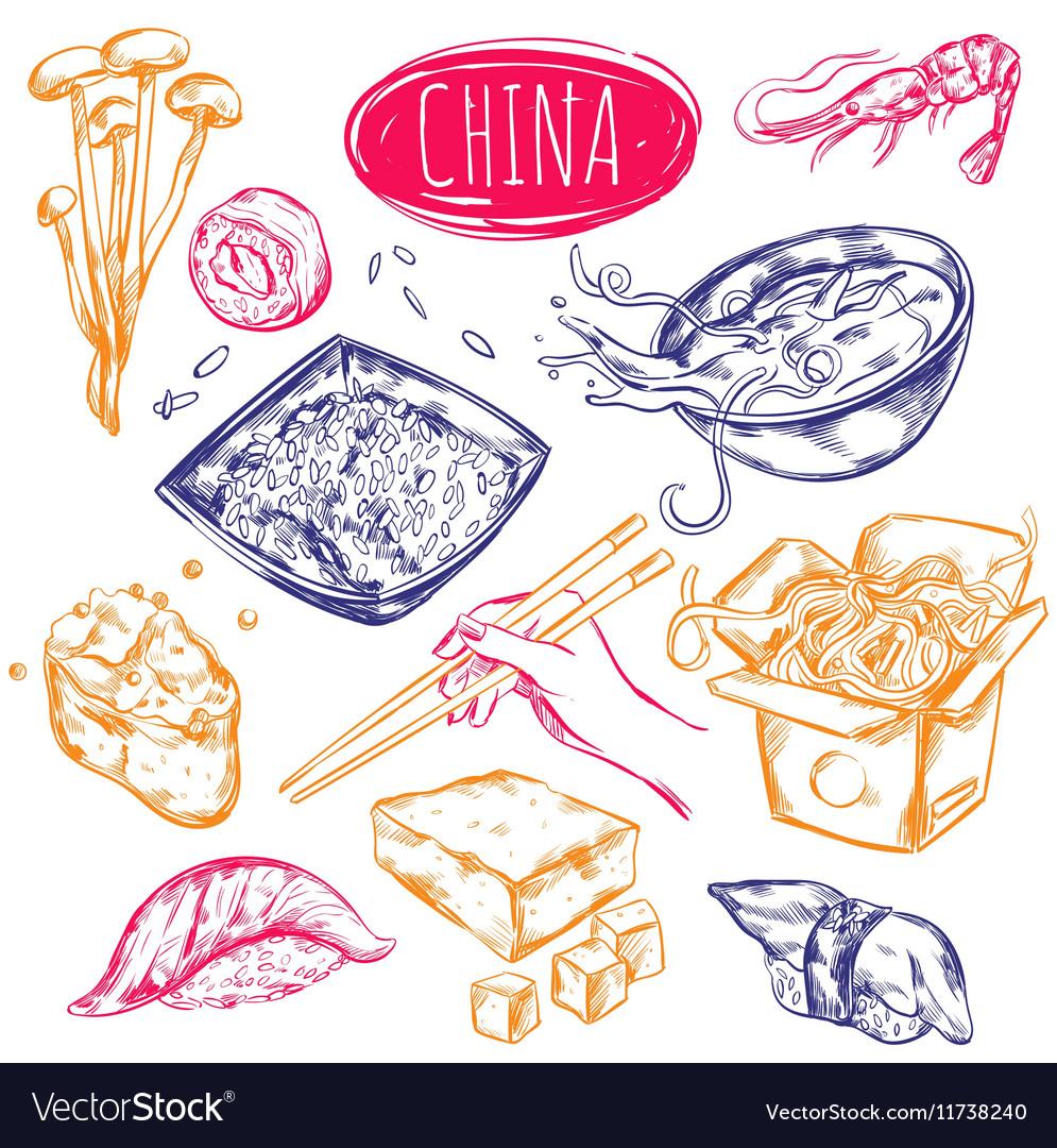 China Food Sketch Set vector image