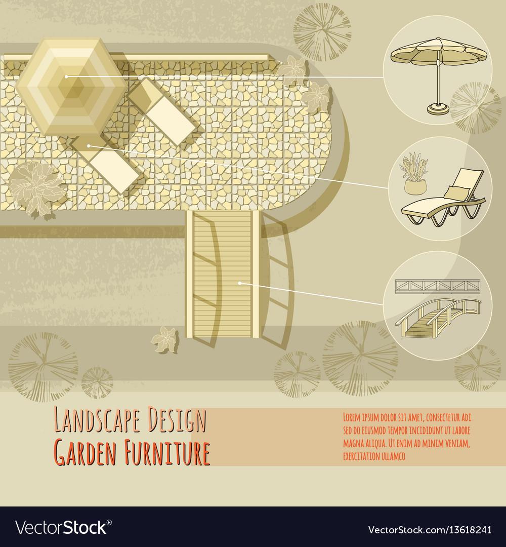 Garden design lounge chairs bridge umbrella vector image