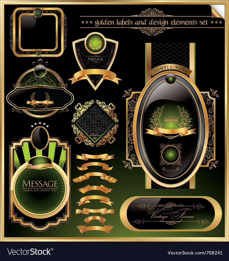 Golden labels and design elements set vector image