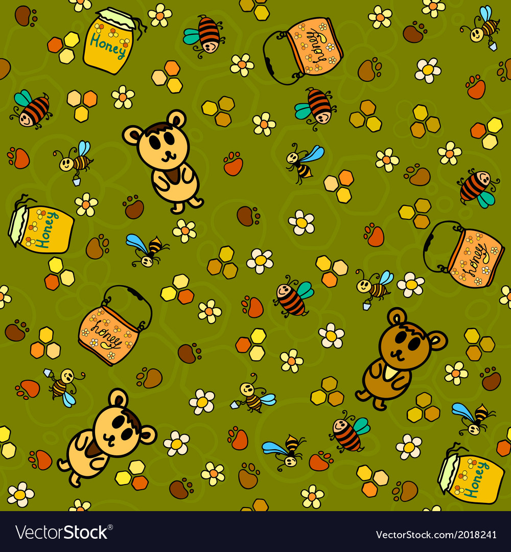 Honey background with bees and bears vector image