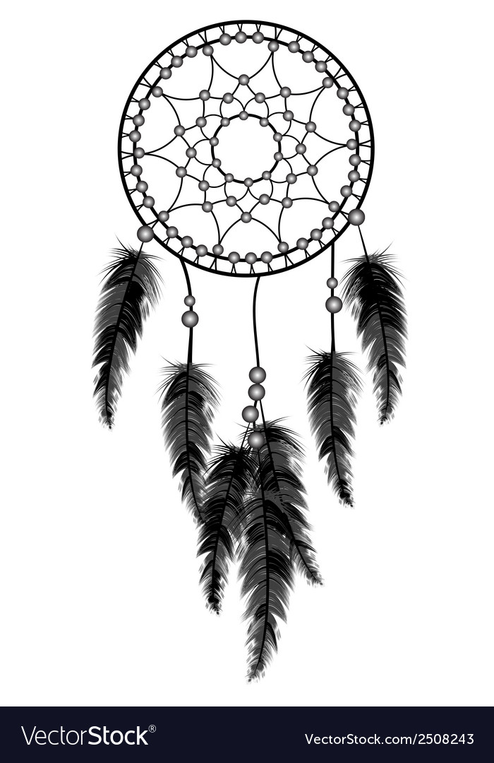 Black dream catcher vector image