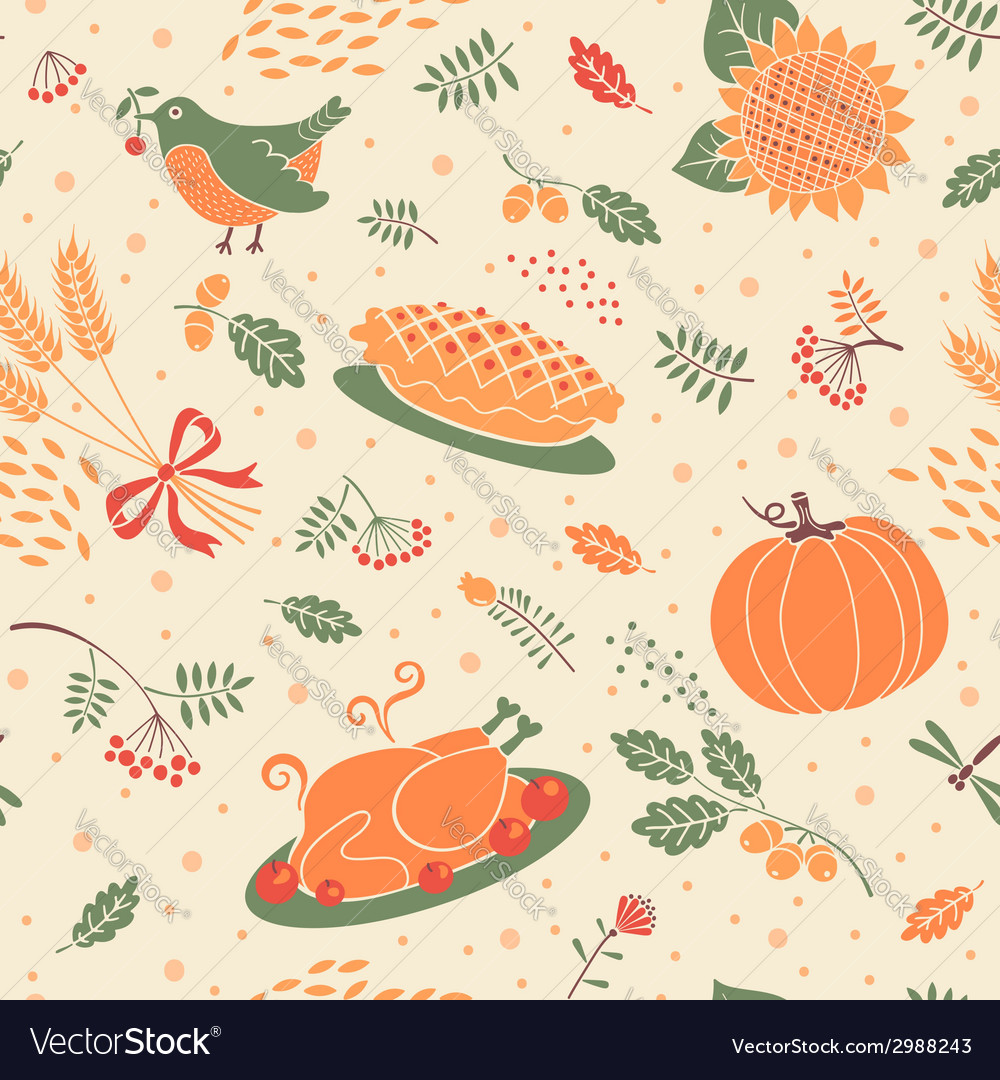 Seamless pattern with pumpkin leaves and wheat vector image